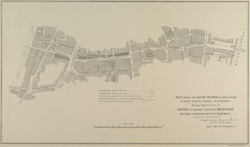 PLAN FROM THE RIVER THAMES AT SAVOY WHARF TO GREAT RUSSELL STREET, BLOOMSBURY